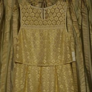 Jessica Simpson Gold Sleeveless Lace Dress - 10